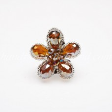 Crystal Flower Ring (Brown)